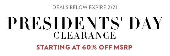 Presidents' Day Clearance