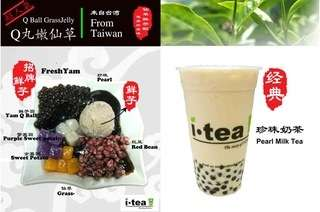 iTea: 2 Medium Cup Drinks with Pearls