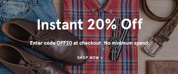 Instant 20% off - Enter code OFF20 at checkout. No Minimum Spend. Shop Now