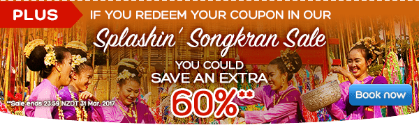 Splashin' Songkran Sale Save big on Thailand hotels! - Save up to 60%**