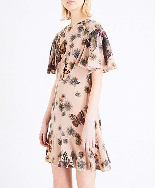 VALENTINO Butterfly-print silk dress