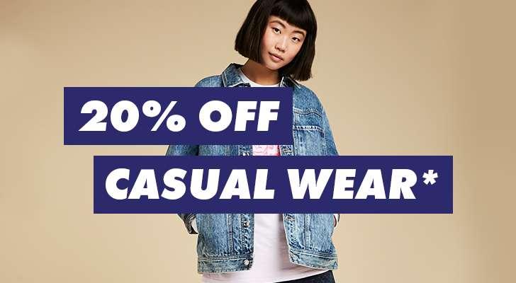 20% off casual wear*