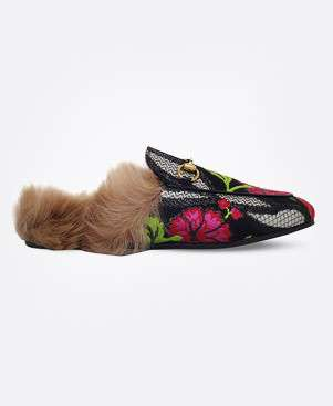 GUCCI Princetown floral brocade wool slipper