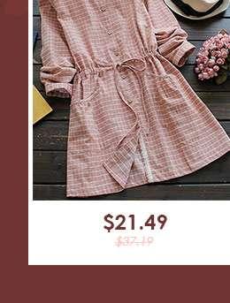 Drawstring Round Neck Checked Dress