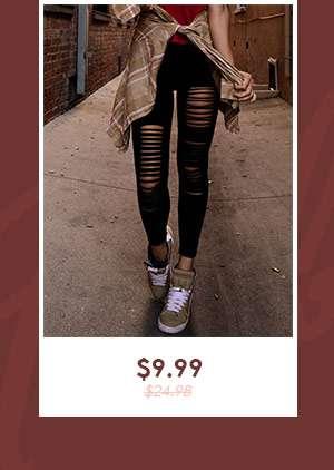 Hipster Slimming Leggings - Black