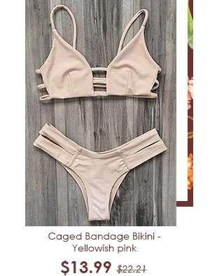 Caged Bandage Bikini - Yellowish pink