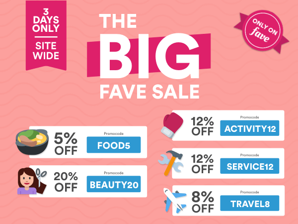 Groupon The Big Fave Sale Is Here With Up To 20 Off Dining Beauty Leisure Travel More Deals 18 21 Apr 2017 Bq Sg Bargainqueen