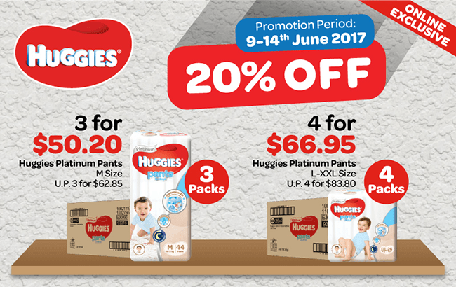 Huggies 20% off promotion! 9 - 14th June 2017