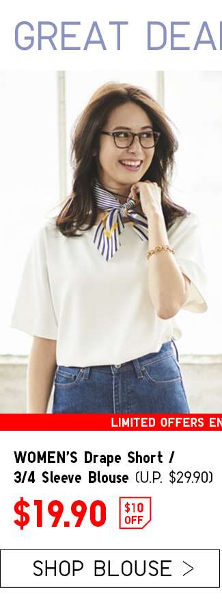 $10 OFF | Shop Women's Drape Short / 3/4 Sleeve Blouse at $19.90