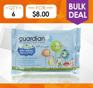Guardian Soft & Care Wet Wipes (Fragrance Free), 30s