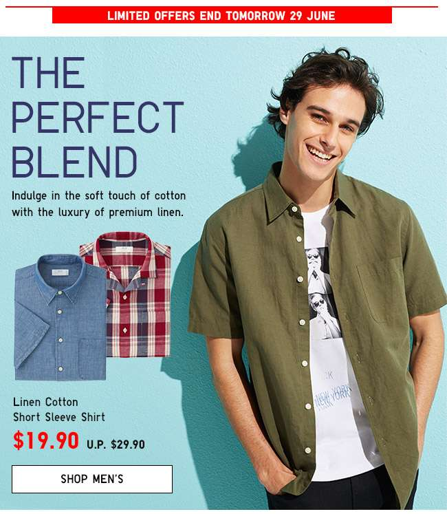 Shop Men's Linen Cotton S/S Shirt $19.90