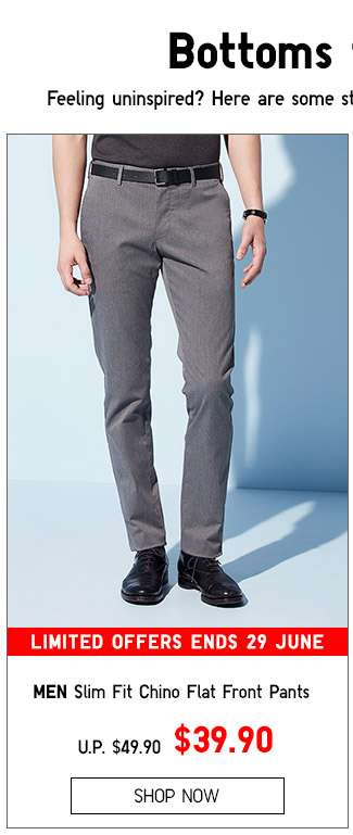 Men's Slim Fit Chino Flat Front Pants $39.90