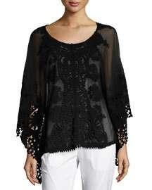 XCVI Seashore Embroidered Poncho, Black