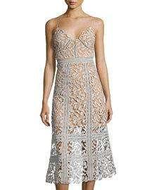 FEW MODA Fairy Floral-Lace Midi Dress, Lavender