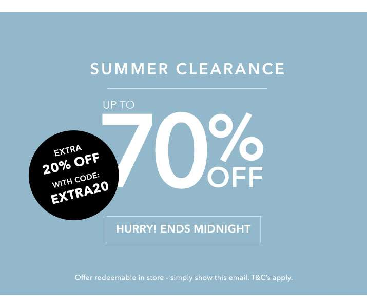 Summer Clearance Up To 70% Off - Hurry! Ends Midnight