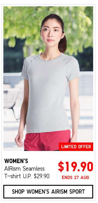 Shop Women's AIRism Seamless T-shirt $19.90