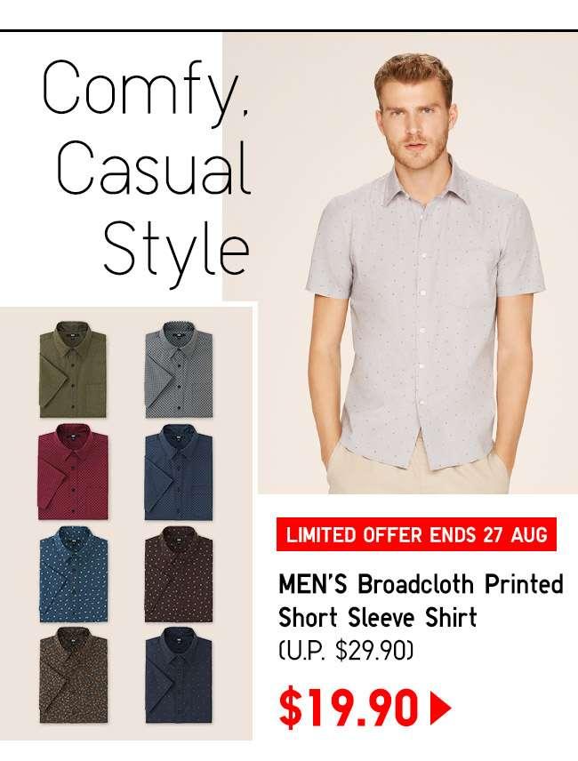 Shop Men's Broadcloth Printed Short Sleeve Shirt at $19.90