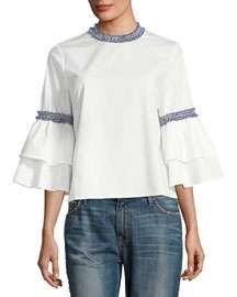 FEW MODA Embroidered-Trim Cotton Blouse