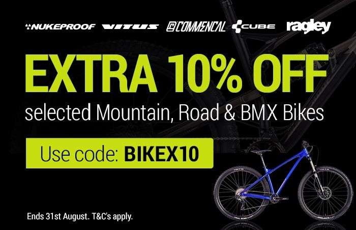 Extra 10% off selected Mountain, Road & BMX Bikes