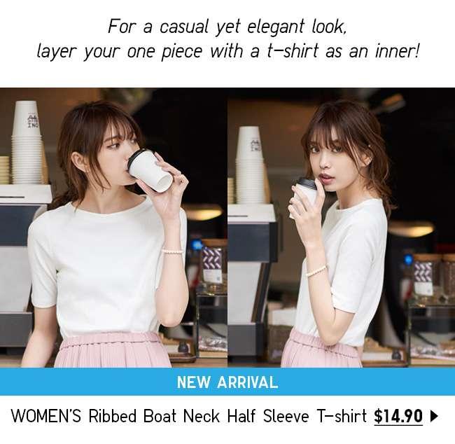 NEW! Shop Women's Ribbed Boat Neck Half Sleeve T-shirt at $14.90