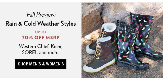Shop Rain and Cold Weather Styles