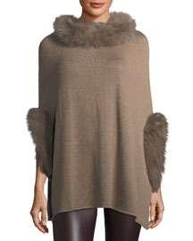 Neiman Marcus Fox Fur-Trim Knit Poncho