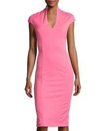 Neiman Marcus Solid V-Neck Cap-Sleeve Dress