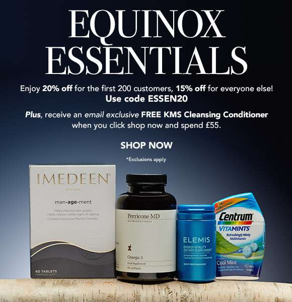 Equinox Essentials | Enjoy 20% off of the first 200 customers, 15% off for everyone else! use code: ESSEN20  Plus, receive an email exclusive Free KMS Cleansing Conditioner when you click shop now and spend £55.  SHOP NOW  *Exclusions apply