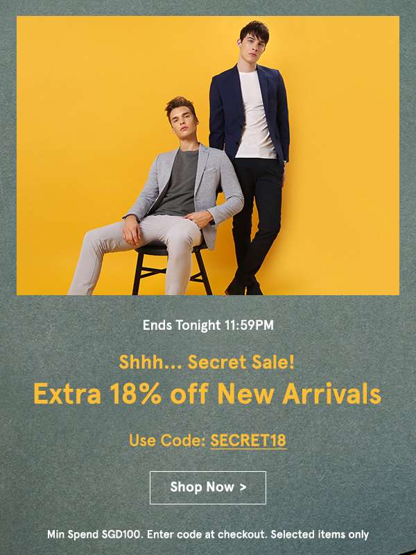 Ends tonight 11:59pm shhh... secret sale! extra 18% off new arrivals use code SECRET18 min spend sgd100