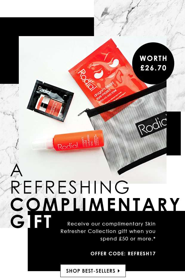 Enjoy a complimentary Skin Refresher Collection gift when you spend £50 or more with code REFRESH17.