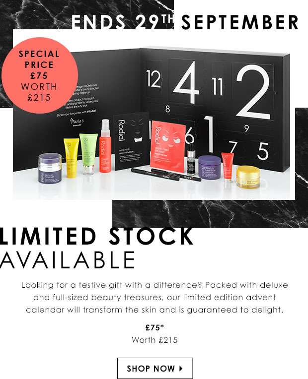 Enjoy special price of £75 on our limited edition advent calendar until 29th September!