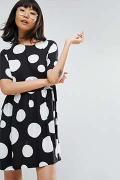 The 'loving this art gallery event' graphic polka dot dress