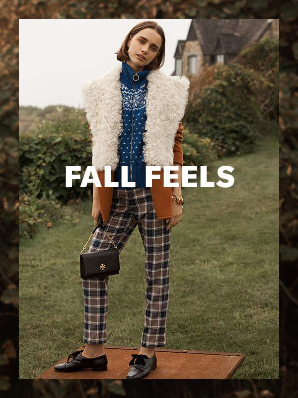 Fall Feels - From Tory Burch, a charming, outdoorsy collection of rich plaid, shearling, and  Fair Isle (warning: may induce apple picking).