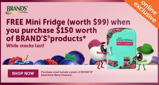 FREE Mini Fridge when you purchase $150 worth of Brand's products!