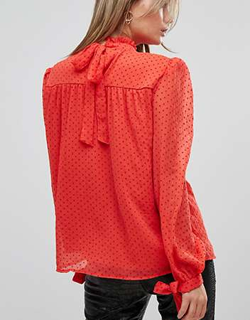 Vila Polka Dot High Neck Blouse