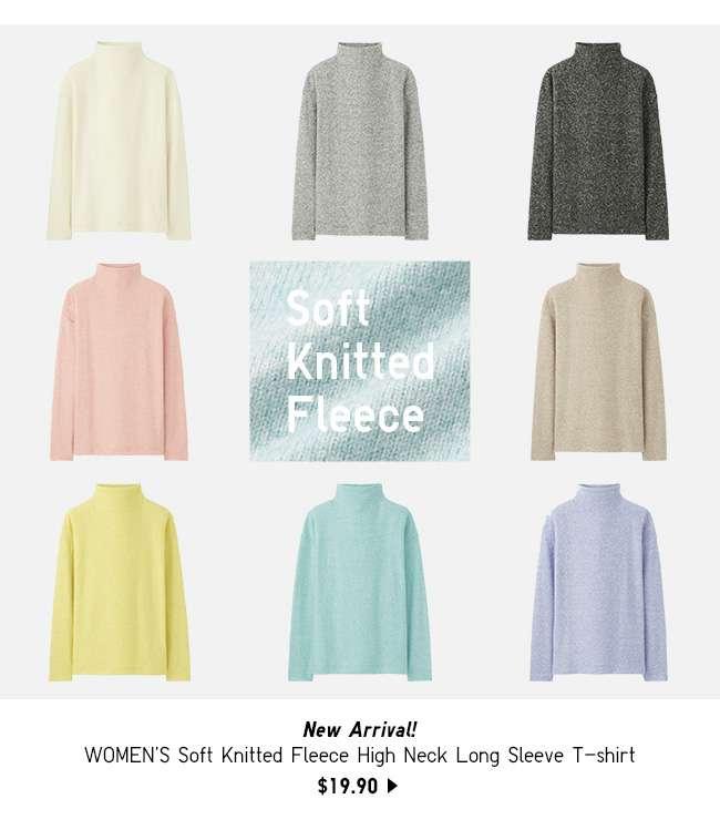 NEW! Women's Soft Knitted Fleece High Neck Long Sleeve T-shirt at $19.90