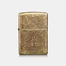 Zippo Lighter: Antique Brass Tree of Life