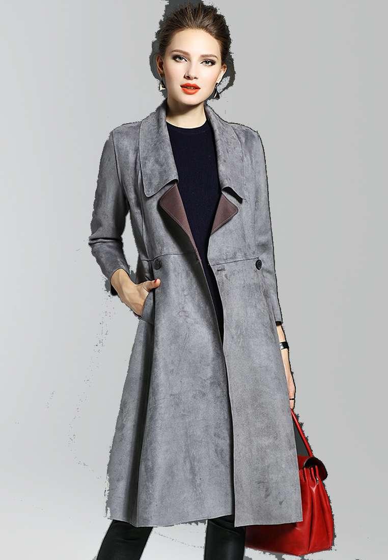Lapel Long-Sleeve Suede Coat