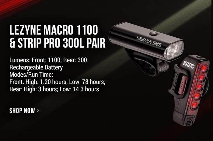 Lezyne Macro 1100 & Strip PRO 300L Pair