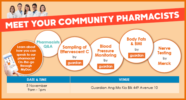 Meet Your Community Pharmacists: 5 Nov 9AM-1PM at Guardian And Mo Kio Blk