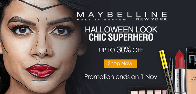 Get your Halloween look with Maybelline - Chic Superhero Up to 30% off!