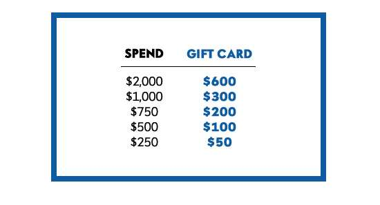 $50-$600 gift card