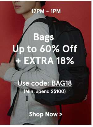 12-1pm bags up to 60% off + extra 18% off use code: BAG18
