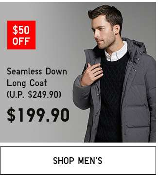 Shop Men's Double 11 specials. Seamless Down Long Coat