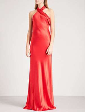 GALVAN Bias-cut silk gown