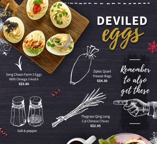 Deviled eggs, good with caviar, ground pepper, or chinese chives! Remember to get ziploc freezer bags so it's easier to prepare.