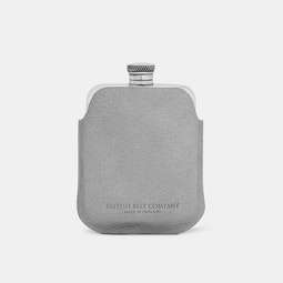 The British Belt Co. Pewter Flask w/ Leather Sleeve