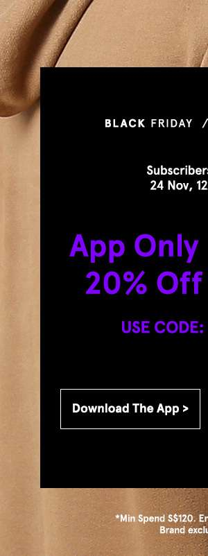 App only flash sale. 20% off sitewide. Use code 20BLACKM Shop now.