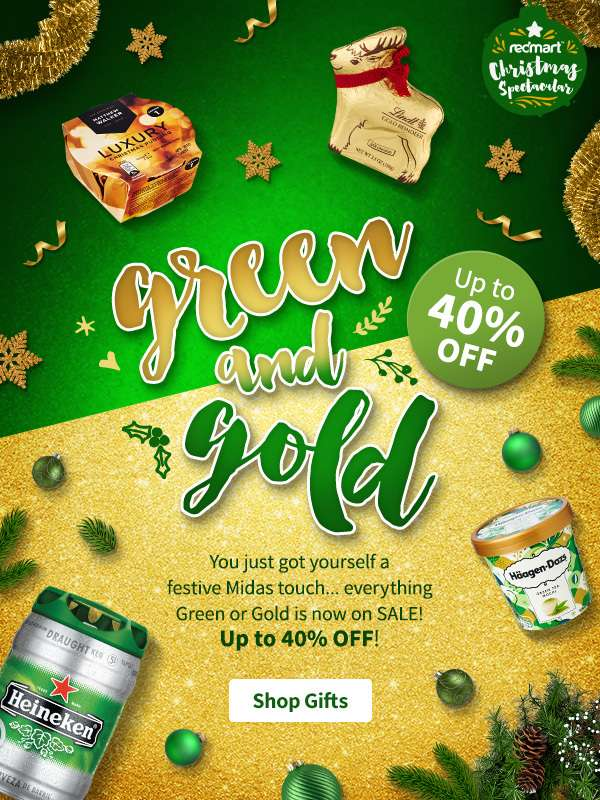 Up to 40% OFF on green and gold items......!