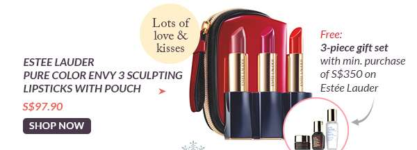Shop Now: Estee Lauder Pure Color Envy 3 Sculpting Lipsticks with Pouch S$97.90